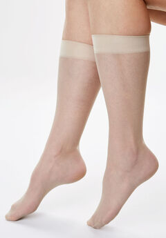 3-Pack Sheer Knee-High Socks by Comfort Choice®, NUDE