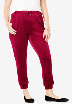 Side Stripe Velour Jogger Pant, RICH BURGUNDY