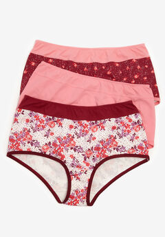 3-Pack Color Block Full-Cut Brief by Comfort Choice®, POMEGRANATE ASSORTED