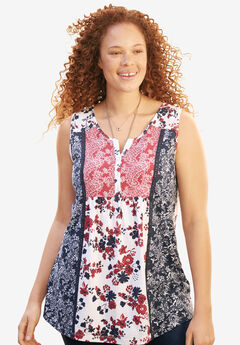 Printed Sleeveless Henley Top,