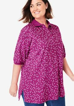 Short-Sleeve Tunic Polo Shirt,