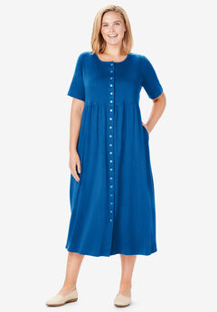 Button-Front Essential Dress, DEEP COBALT