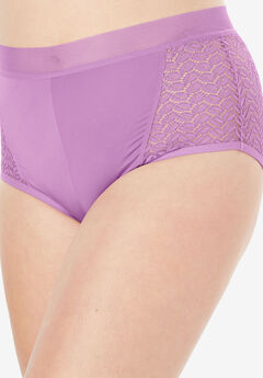 Microfiber Lace Sides Hipster Panty by Comfort Choice®, LIGHT ORCHID