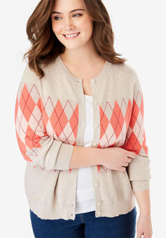 Perfect Long Sleeve Cardigan, CORAL ROSE SIMPLE ARGYLE