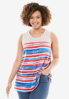 Crochet Detail Americana Tank,