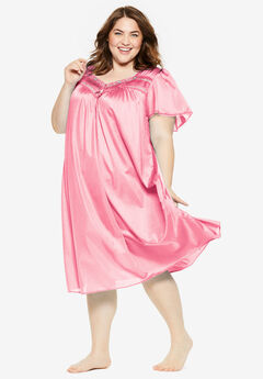 Short Silky Lace-Trim Gown by Only Necessities®, DAZZLING PINK