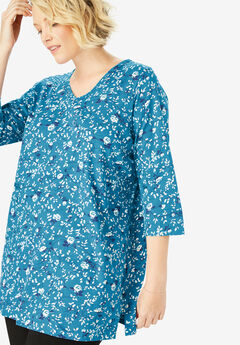 Perfect V-Neck Three-Quarter Sleeve Tunic, RIVER BLUE ROSE VINE