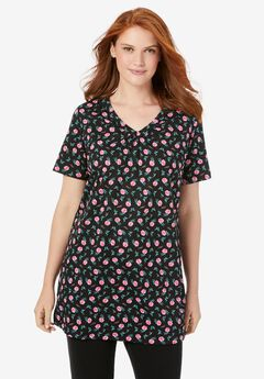 Perfect Printed Short-Sleeve Shirred V-Neck Tunic,