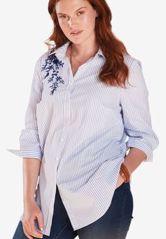 Perfect Embroidered Button Down Shirt,