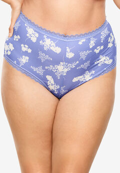 Lace Trim Microfiber Hipster by Comfort Choice®, FRENCH LILAC FLORAL