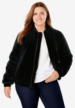 Velour Chevron-Quilted Puffer Jacket, BLACK