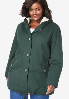 Sherpa-Lined Hooded Parka, DEEP EMERALD