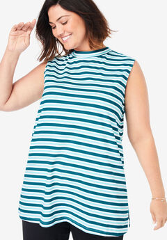 EveryWear Essential Sleeveless Mockneck Tee,