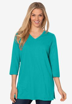 Perfect Three-Quarter Sleeve V-Neck Tunic,