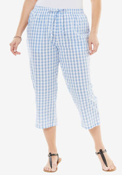 Seersucker Capri Pant, FRENCH BLUE GINGHAM