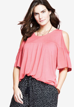 bf73903bd12f0 Flare Sleeve Cutout Cold-Shoulder Top by Chelsea Studio®