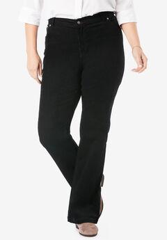 Stretch Corduroy Bootcut Jean, BLACK