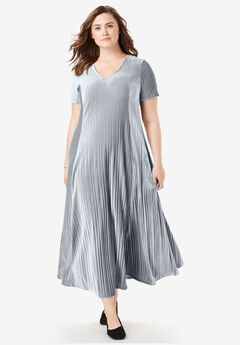 Pleated Velour Dress,