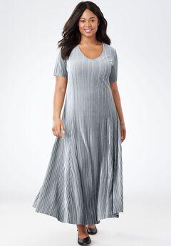 Pleated Velour Dress,