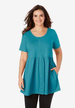 Short-Sleeve Empire Waist Tunic,