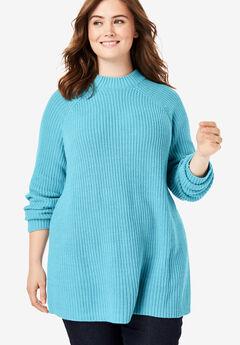Mock Neck Shaker Sweater, SOFT AQUA