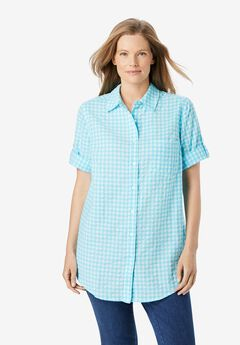 Short Sleeve Button Down Seersucker Shirt,