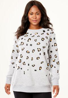 Fleece Sweatshirt, HEATHER GREY ANIMAL PRINT