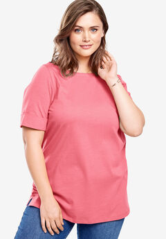 Boatneck Cuffed-Sleeve Perfect Tee,