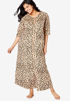 Long French Terry Zip-Front Robe by Dreams & Co.®, CLASSIC LEOPARD PRINT