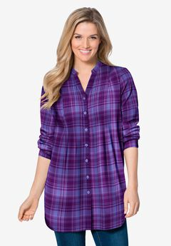 Pintucked Flannel Shirt, DUSTY LILAC PLAID
