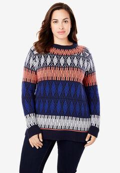 Fair Isle Knit Pullover Sweater, NAVY MULTI