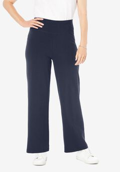 Stretch Cotton Wide Leg Pant,
