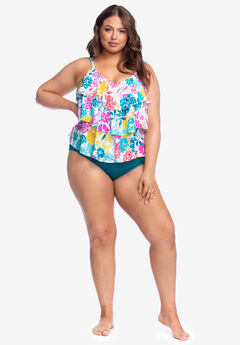 Triple-Tier Tankini Top , PAINT THE GARDEN