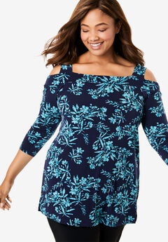 Best Dressed® Essential Cold-Shoulder Tee, SOFT AQUA OVERLAY FLORAL