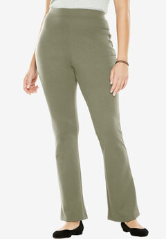 Bootcut Ponte Stretch Knit Pant, OLIVE GREY