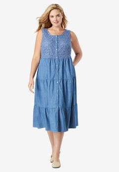 Denim Lace Bib Dress,