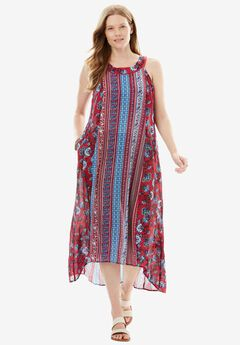 Sleeveless High-Low Crinkle Dress,