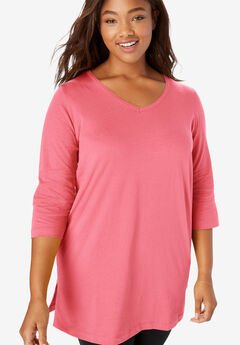 V-Neck Three-Quarter Sleeve Perfect Tunic,