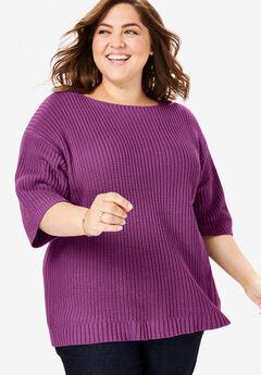 Three-Quarter Sleeve Pullover Shaker Sweater, DARK BERRY