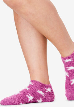2-Pack Fuzzy Printed Ankle Socks by Comfort Choice®, STAR PACK