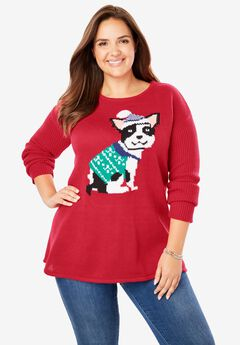 Holiday Pullover Sweater, FRESH RED PUPPY