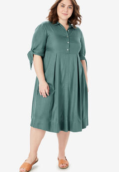 Tie-Sleeve Henley Dress,