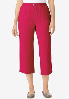 Elastic-Waist Cotton Capri, CRYSTAL BERRY