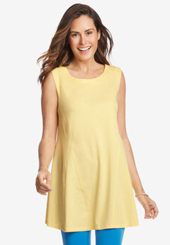 Sleeveless Fit-And-Flare Tunic Top,