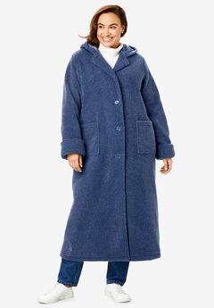 Long Hooded Berber Fleece Coat, LIGHT INDIGO