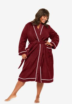 Spa Terry Short Wrap Robe by Dreams & Co.®, POMEGRANATE