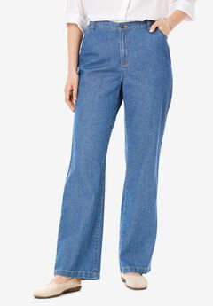 Back-Elastic Wide Leg Cotton Jean,