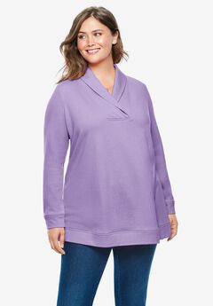 French Terry Zip Shawl Collar Sweatshirt,