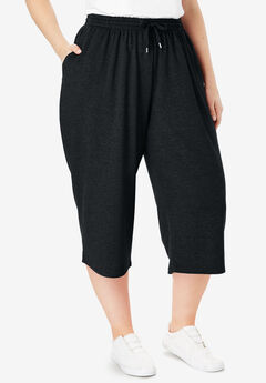 Wide Leg Fleece Capri,
