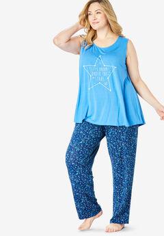 Dreams & Co.® Tank Top PJ Set, CORNFLOWER BLUE STAR